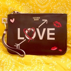 Victoria's Secret Black Wristlet Makeup Bag